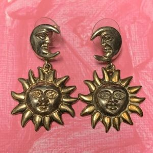 VINTAGE TOZTLI MEXICAN SUN MOON sterling earrings